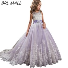 цены Beautiful Light Purple Flower girl Dress with Bow Beaded Kids Ball Gown Lace Appliques first communion dresses for girls AB02