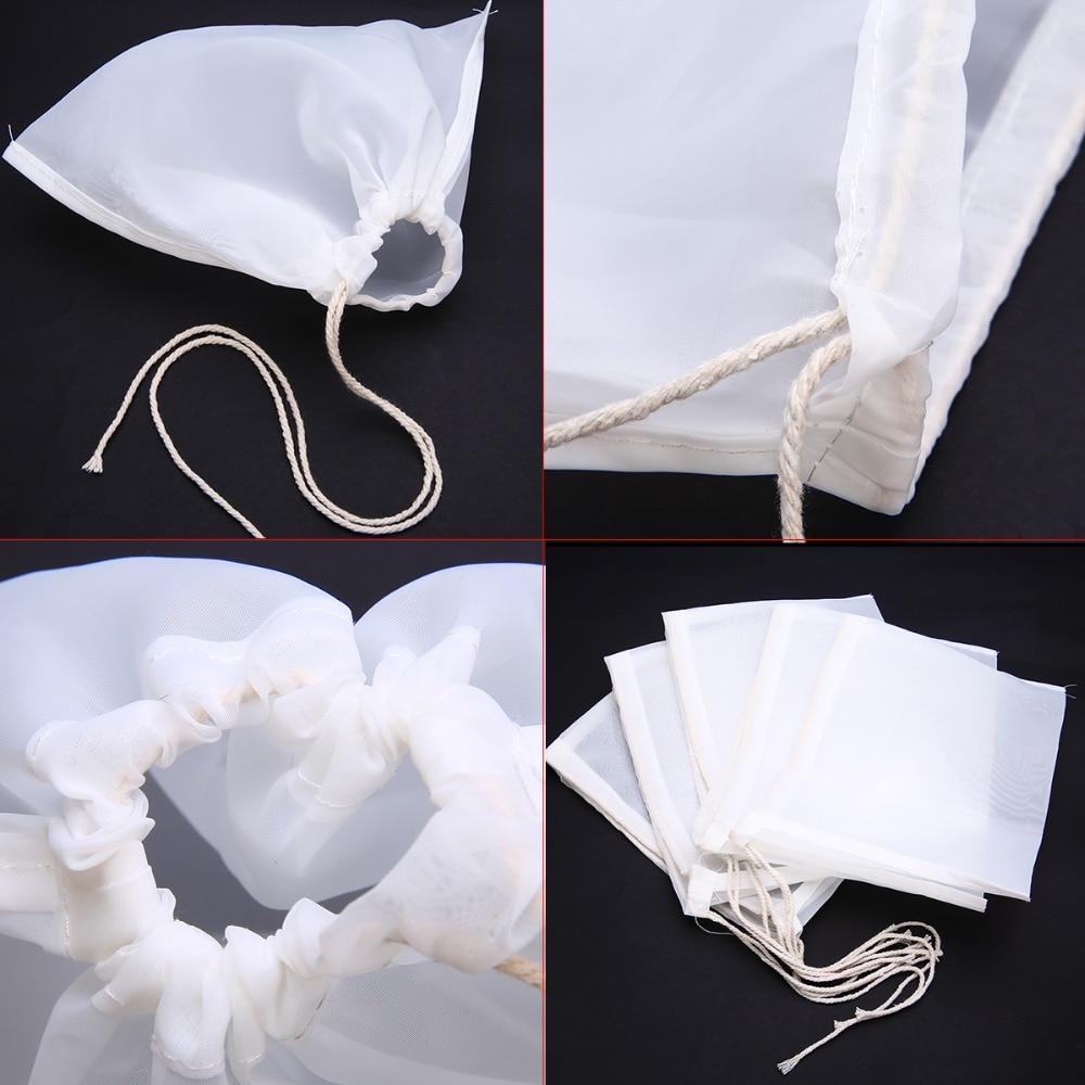 5pcs/lot Mesh Nylon Strainer Filter Bag Nylon Mesh Net Strain For Nut Milk Hops Tea Brewing Home Wine Beer Making Bar Tools