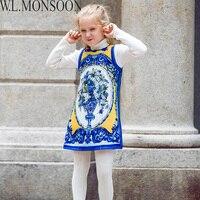 W L MONSOON Vestidos Baby Girls Dress 2017 Brand Christmas Dress With Embroidered Flower Princess Kids