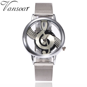 Vansvar Brand Musical Note Fashion Luxury Hollow Stainless-Steel Silver Quartz Watches 1