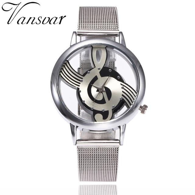 Vansvar Brand Musical Note Fashion Luxury Hollow Stainless-Steel Silver Quartz Watches 1