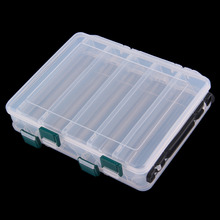 10 Compartment Double Sided Fishing Lures Tackle Hooks Baits Case Storage Box free shipping
