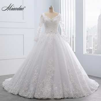 Miaoduo Backless Lace Ball Gown Wedding Dresses 2019  Appliques Pearls Cheap Bridal Gowns vestido de noiva princesa Custom made - DISCOUNT ITEM  30% OFF All Category