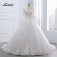 Miaoduo Backless Lace Ball Gown Wedding Dresses 2017 More Appliques Pearls Cheap Bridal Gowns Vestido De