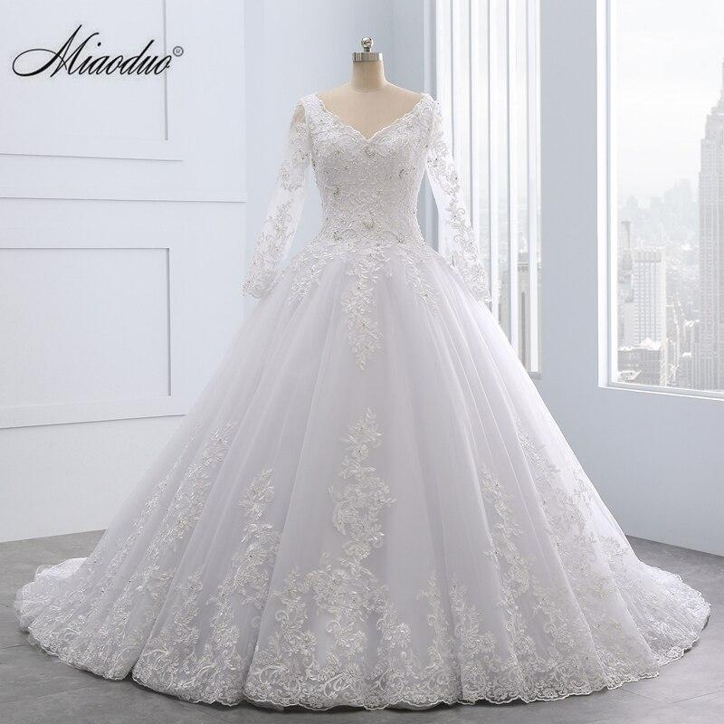 Miaoduo Dos Nu Dentelle robe de Bal Robes de Mariée 2018 Appliques Perles Pas Cher Robes de Mariée robe de noiva princesa Custom made