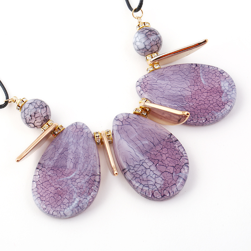 Wedding Jewelry Sets Resin Waterdrop Crystal Pendant Necklace Earrings Sets Valentines Day gifts