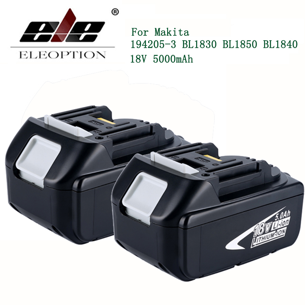 ELE ELEOPTION 2PCS 18V 5000mAh Battery with LED Indicator for Makita LXT Lithium-Ion Power Tools 194205-3 BL1830 BL1850 BL1840 ele eleoption 3pcs 5000mah 18v battery with led indicator for makita lxt lithium ion power tools 194205 3 bl1830 bl1850 bl1840