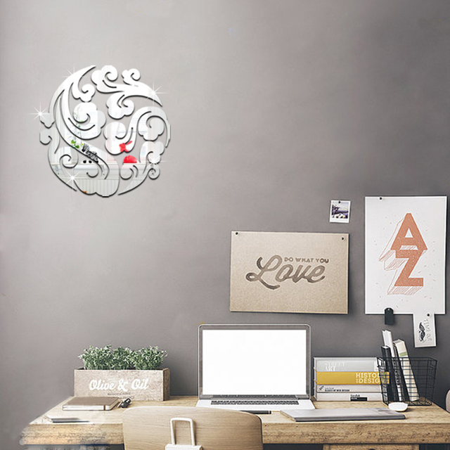 3d clouds round mirror wall stickers for living roon office tv back ground home decoration poster