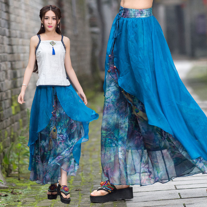 Vintage 70s ethnic long two layers asmmetrical print   wide     leg     pant   2019 women summer Mexico style ethnic print trousers capris