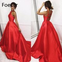 Red Satin Ball Gown evening Dresses Simple Backless Long Graduation Dress Sleeveless Pink Party Dress Keyhole Neck evening gown