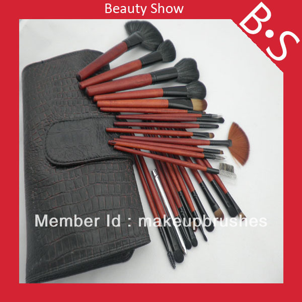 Free shipping Professional 25pcs Hot Makeup Brush Set/Kit,Beauty/Best Hot Sale Cosmetic Brush Set,Excellent Leather Bag недорого