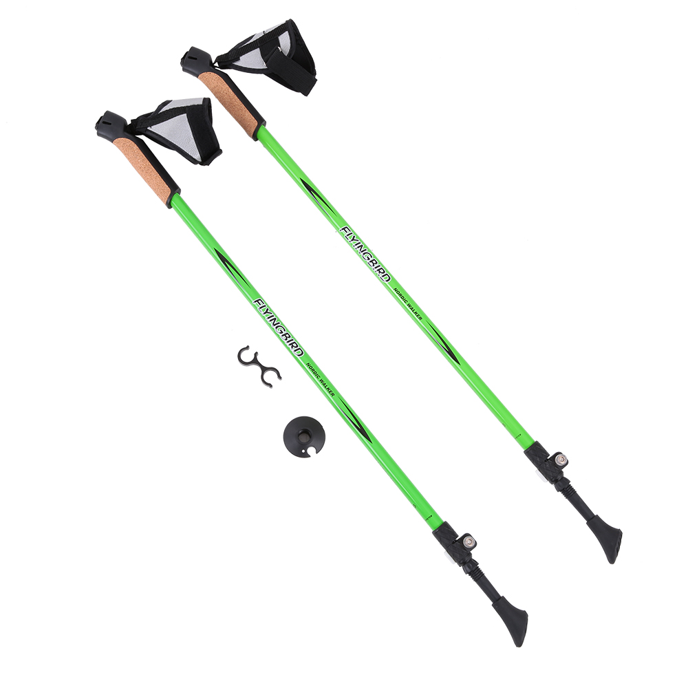 1 Pair Carbon Fiber Ultralight Trekking Poles Walking Stick Anti Shock Absorber System Hiking Pole Elastic