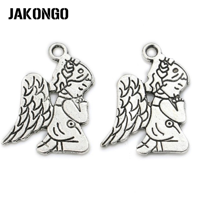 10Pcs/lot Antique Silver Plated Angel Wings Fairy Charm Pendant Bracelets Necklace Jewelry Making Craft DIY 23x17mm
