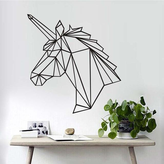 geometric unicorn horse head diy wall sticker for kids room creative