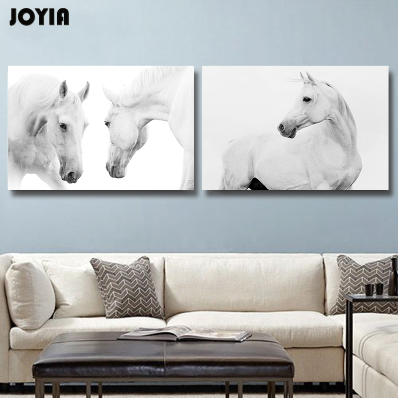 White horse wall pictures for living room home office decor 2 piece modern horses paintings for White framed pictures for living room