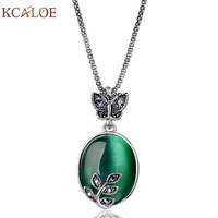 2017 New Arrival Big Vintage Silver Plated Fashion Leaf Pendant Necklace Shape Natural Stone Green Opal