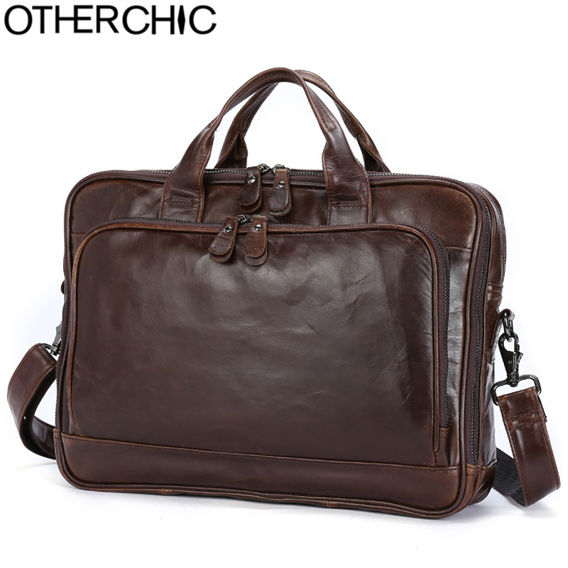 OTHERCHIC Luxury Laptop Bag Mens Briefcase Genuine Leather Crossbody Handbag Executive Business Shoulder Bag Travel L-7N07-29 цена и фото
