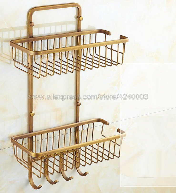 цена Bathroom Shelves 2 Tier Metal Wall Mounted Shower Corner Shelf Washing Cosmetic Basket Bath Bathroom Accessories Towel Hook B109