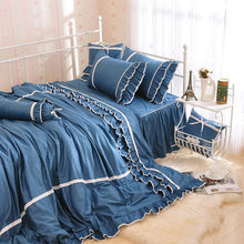 Luxury Ruffles lace ruffle bedding set cotton girl Korean princess wedding sets home textile bedspread quilt cover king size