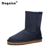 цена на DAGNINO High Quality Sheepskin Leather Suede Winter Snow Boots Shearling Women Real Sheep Fur Wool Lined Men Winter Shoes Ankle