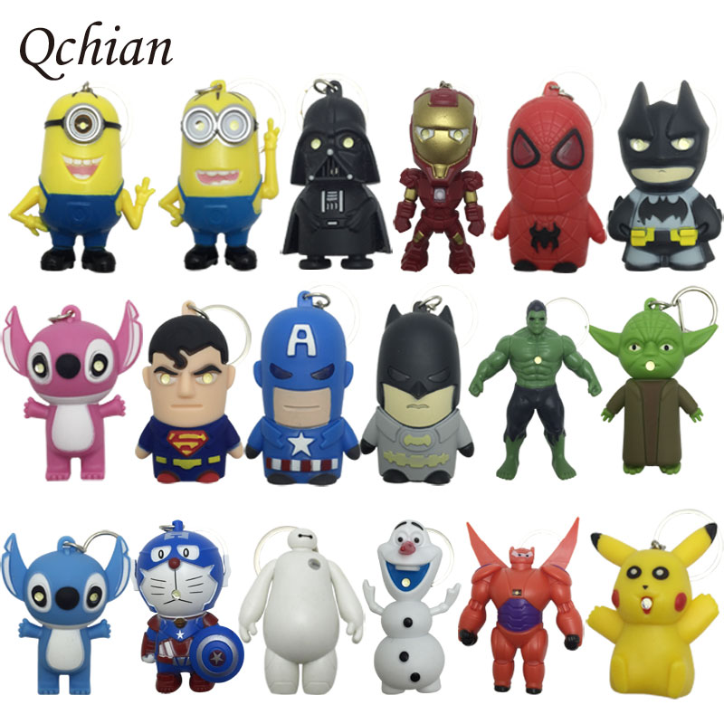 Iron Man keychain Hulk Big Hero 6 Batman Olaf Pikachu Key Chains Spiderman Superman Batman Keyrings LED Glowing Sound