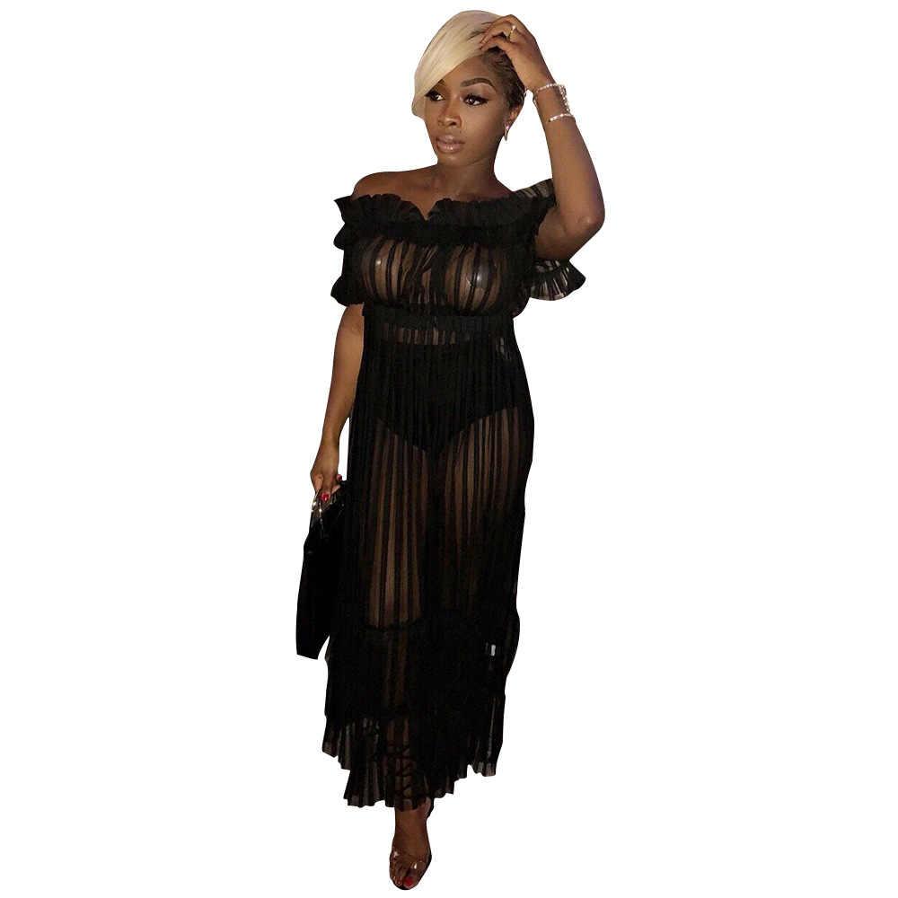 Женское сексуальное длинное платье с открытыми плечами с вырезом лодочкой, прозрачное Сетчатое Полосатое платье в пол, черное прозрачное летнее платье с оборками, вечерние платья