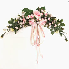 European-style Simulation Flower Roses  Door Wreath And Swag  Lintel Mirror Decoration Flower Bridal Chamber Free Shipping