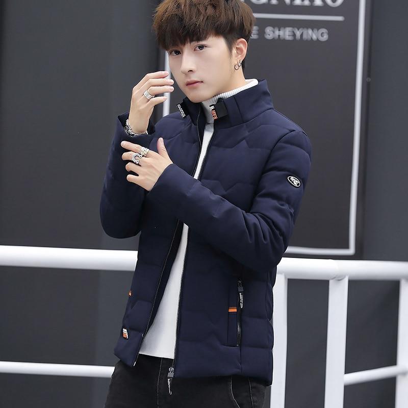 Image 3 - Зимняя куртка, Мужская хлопковая одежда, модная мужская зимняя теплая приталенная куртка пуховик, мужская куртка на молнии, однотонное пальто-in Парки from Мужская одежда