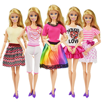 5 Pcs/lot Casual Wear Doll Clothes Dress Accessories Handmade Clothes Dress Suit Childrens Girls Toy Gift for Barbie Doll Dress