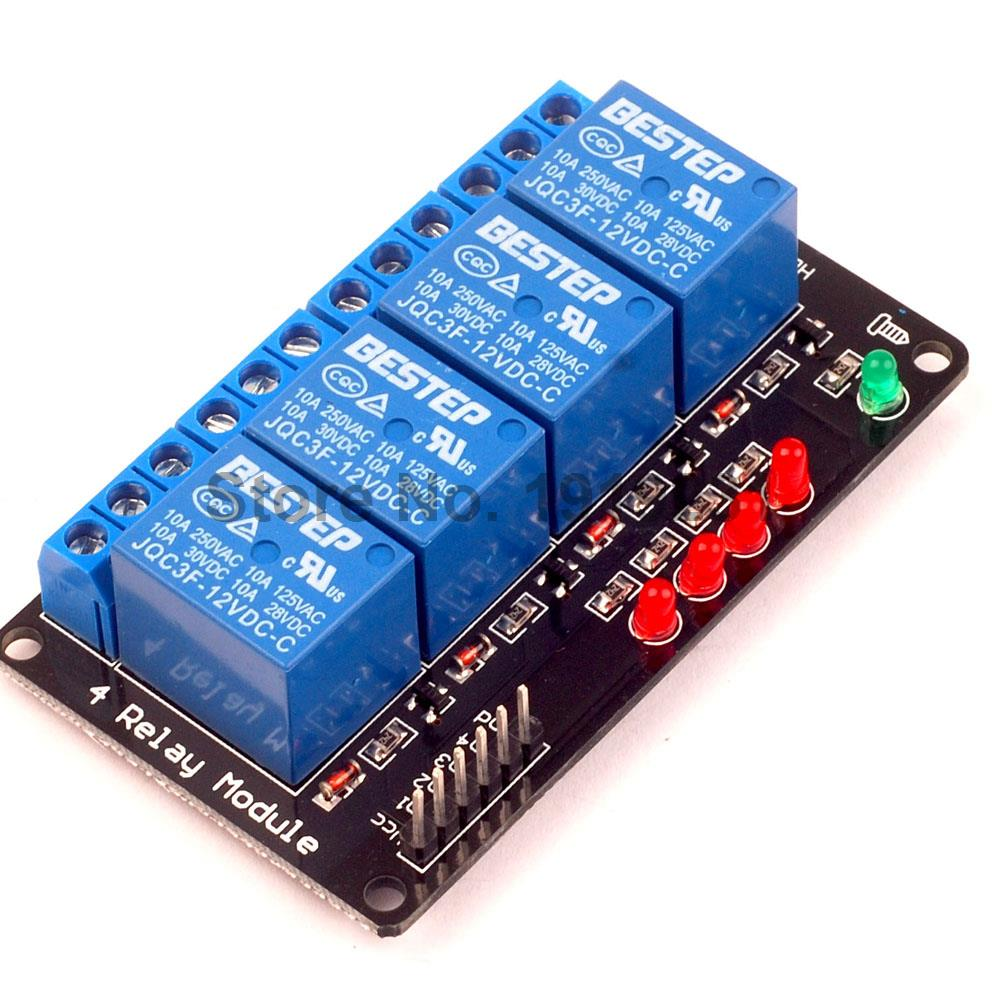 1PCS 4 Channel 12V Relay Module lamp Low level for Arduino SCM Household Appliance Control 8 channel relay module control panel 12v low and high level trigger for arduino plc free shipping