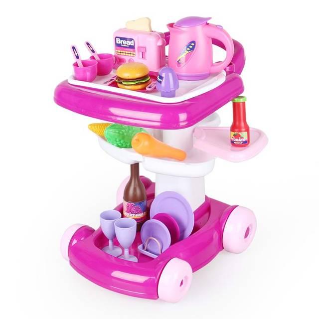 Newarrivalchildren play música ligeira carro de brinquedo carrinho de compras simulação de utensílios de cozinha toys set conjunto de cozinha para crianças