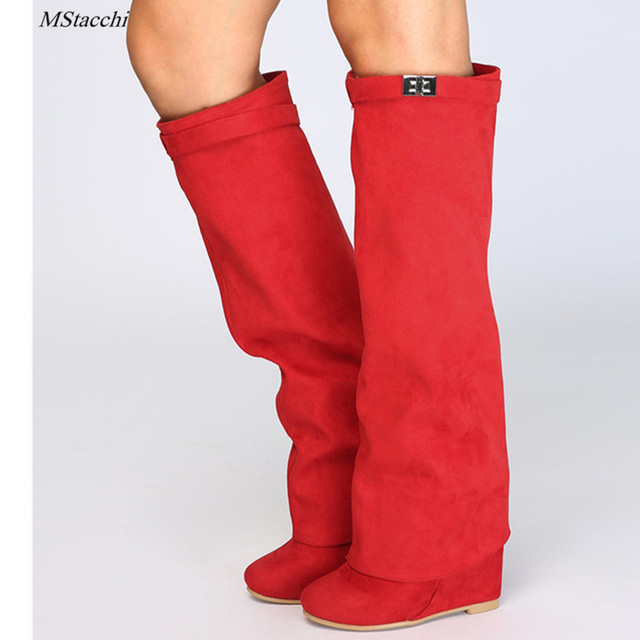 Mstacchi Wedge Shark Lock Women Knee High Boots Slip-on Fold Over Lady Motorcycle Boots Height Increasing Woman Original Boots