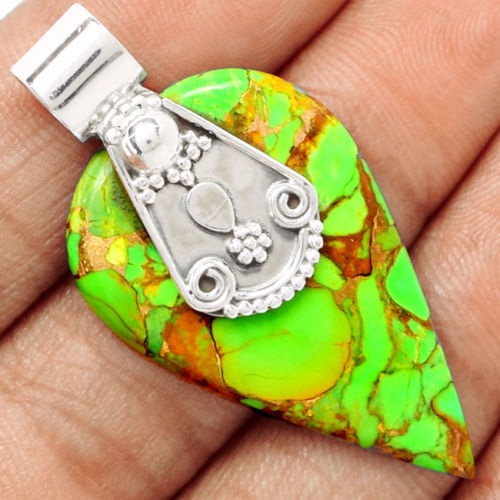 Genuine Green Copper Turquoise Pendant 925 Sterling Silver Jewellery AP0740