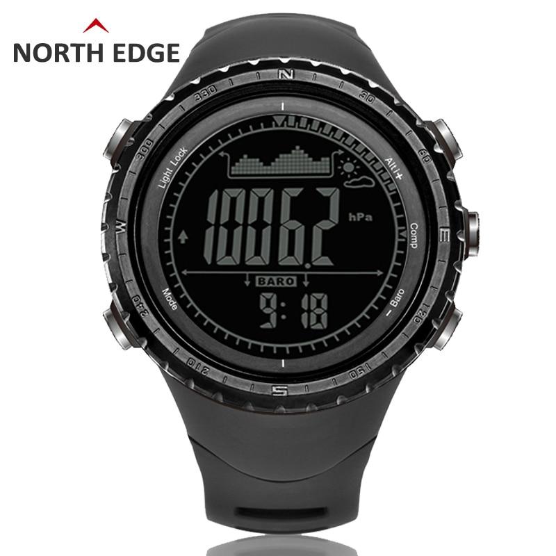 Mannen sport Digitale horloge Uur Running Zwemmen horloges Hoogtemeter Barometer Kompas Thermometer Weer Stappenteller Digitale Horloge-in Digitale Klokken van Horloges op  Groep 1