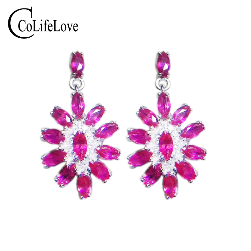Luxurious ruby drop earrings for evening party 24 pieces natural VS grade ruby earrings 925 silver ruby jewelry romantic gift путь ruby