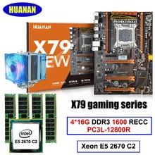 HUANAN deluxe X79 LGA2011 gaming motherboard CPU RAM set mit CPU kühler Xeon E5 2670 C2 RAM 64G (4*16G) DDR3 1600 MHz RECC