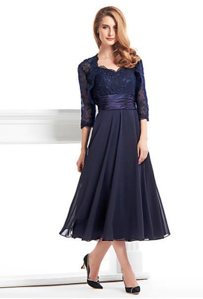 Madre de la novia con la chaqueta corta vestido formal vestido de madrina de la madre de la novia vestido de azul real encaje