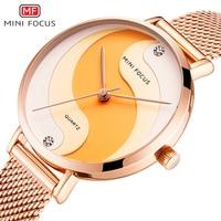 MINIFOCUS Woman Watches 2019 Top Brand Luxury Women Watch Rose gold Quartz Female WristWatch Ladies Clock Girl Relogio Feminino