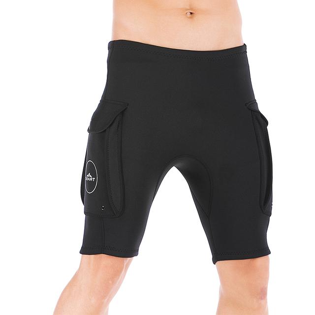 SBART 3mm Neoprene Surfing Wetsuit Pants With Pocket Black Short Pants for Men Keep Warm Swimwear Snorkeling Rashguard Trunks N