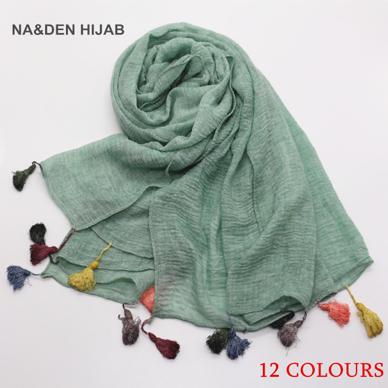 2020 New Candy Color Tassel Hijab Plain Maxi Scarf Vintage Fashion Shawls Scarves Muslim Solid Hijabs Cosy Muffler Foulard 1PC