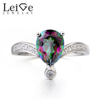 Leige Jewelry Genuine Mystic Topaz Ring Cocktail Party Ring Pear Cut Pink Rainbow Gemstone 925 Sterling
