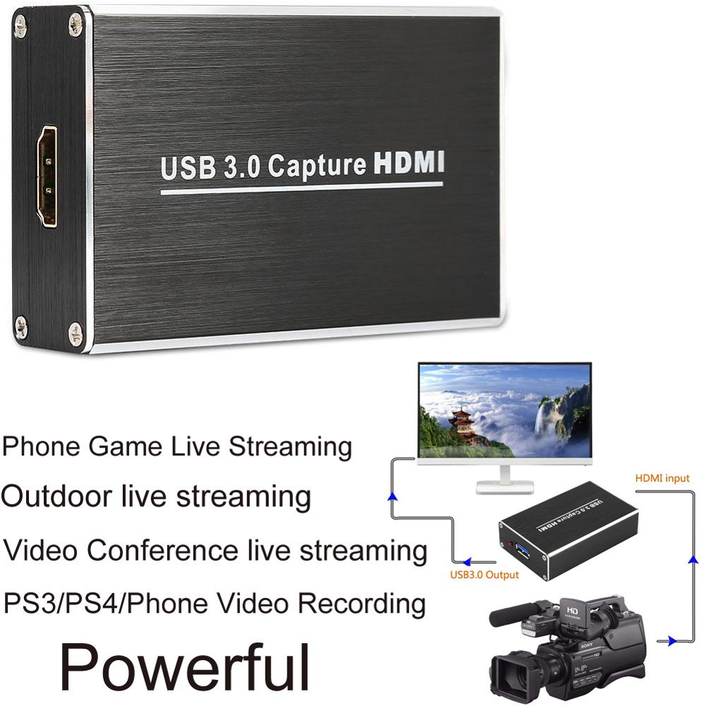 HDMI to USB 3.0 PC Video Record Box 1080P Phone Game Camcorder Conference Live Streaming For PS3 XBox PS4 OBS Youtube FacebookHDMI to USB 3.0 PC Video Record Box 1080P Phone Game Camcorder Conference Live Streaming For PS3 XBox PS4 OBS Youtube Facebook