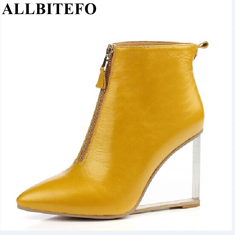 ALLBITEFO Transparent heel horse hair genuine leather high heel ankle boots wedges women boots winter leather