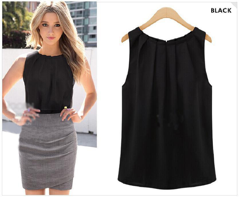 New 2018 Trend Fashion Elegant Chiffon Shirt Black White Sleeveless Round Vest Women Solid Color Casual Top Cloth Drop Shpping