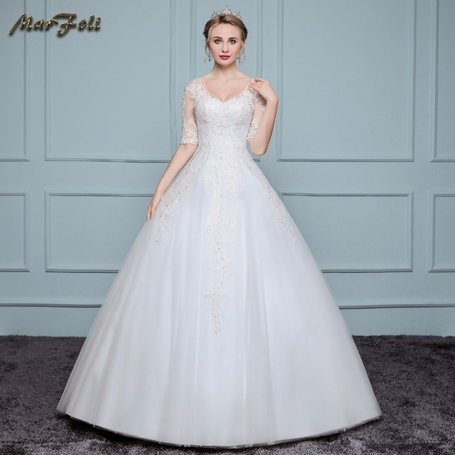 New arrival sweetheart Wedding Dresses lace Beaded Appliqued half ...