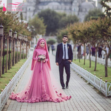 Red Muslim Long sleeve Wedding dresses elegant Arabic bridal Dresses with Hijab 3D flower vestido de noiva princesa Z487