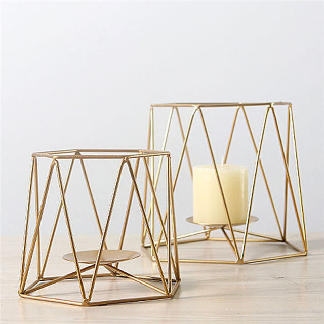 Geometric Candlestick Nordic Minimalist Style Ornaments Wall Sconce Matching Steel Small Tealight Candle Holders