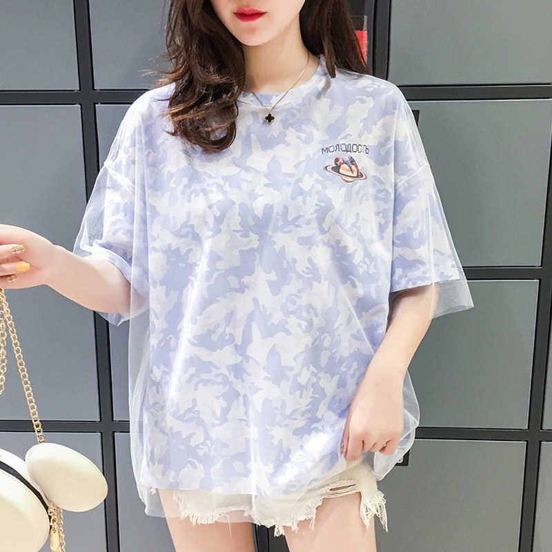 Fashion personality mesh stitching oversized t shirt harajuku summer new kawaii t-shirts graphic tees women tops korean clothes