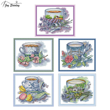Joy Sunday Teacup Series Stamped Cross Stitch Kits Canvas Aida 14ct 11ct DMC Embroidery Fabric for DIY Needlework