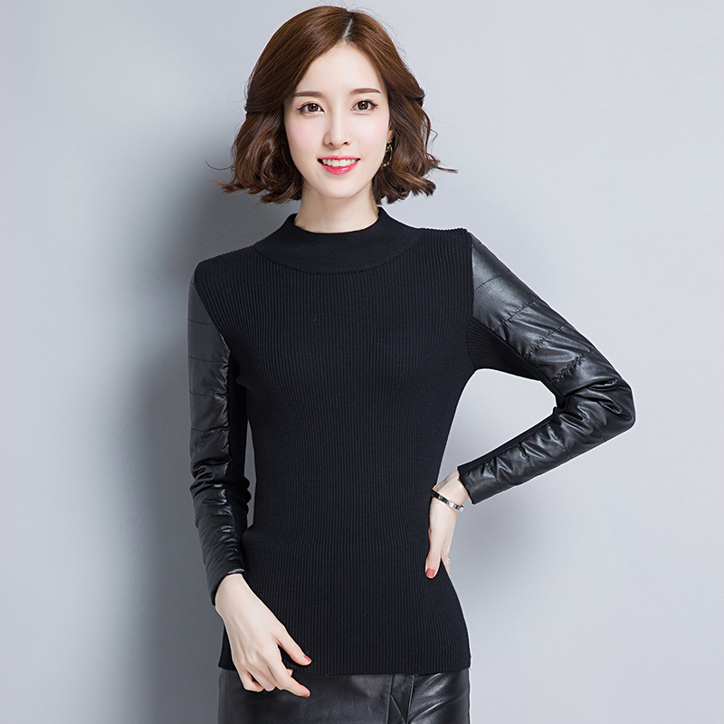 Sweater Female Turtleneck Knitted Long-Sleeve Warm Winter Women's Patchwork Bottoming-Shirts